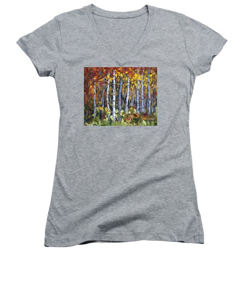Autumn Trees Women's V-Neck (Athletic Fit)