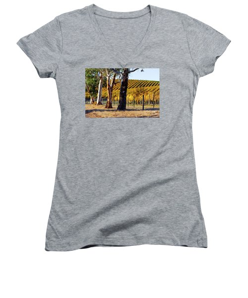 Autumn Vines Women's V-Neck T-Shirt (Junior Cut) by Bill Robinson