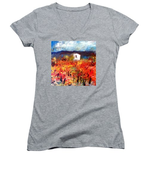 Autumn Vineyard Women's V-Neck T-Shirt