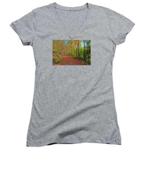 Women's V-Neck T-Shirt (Junior Cut) featuring the digital art Autumn Walk by John Selmer Sr