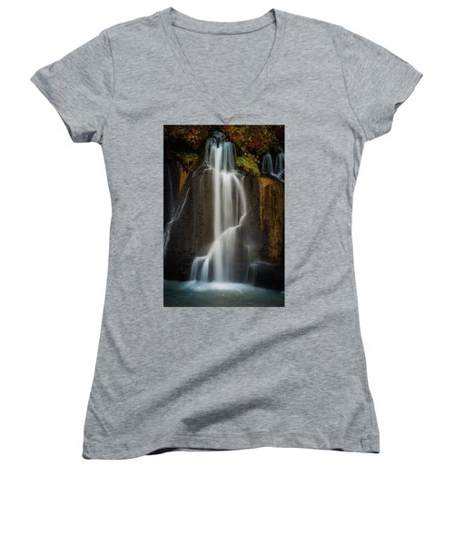 Autumn Waterfall Women's V-Neck (Athletic Fit)