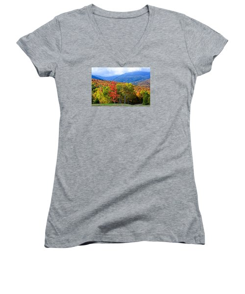 Autumn White Mountains Nh Women's V-Neck T-Shirt (Junior Cut) by Michael Hubley