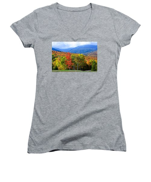 Women's V-Neck featuring the photograph Autumn White Mountains Nh by Michael Hubley