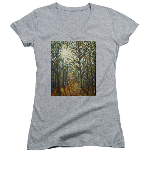 Autumn Wood Women's V-Neck (Athletic Fit)