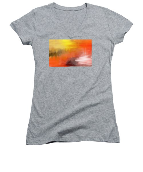 Women's V-Neck featuring the digital art Autumnal Abstract  by Shelli Fitzpatrick