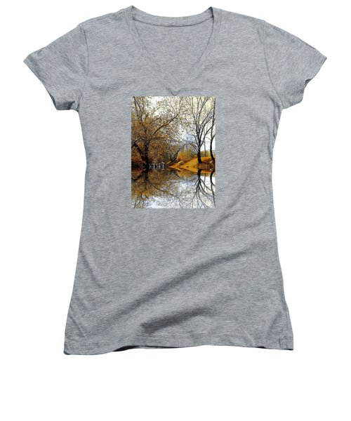 Women's V-Neck T-Shirt (Junior Cut) featuring the photograph Autumnal by Elfriede Fulda