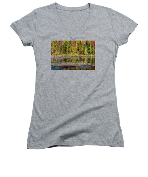 Women's V-Neck T-Shirt (Junior Cut) featuring the photograph Autumns Quiet Moment by Karol Livote