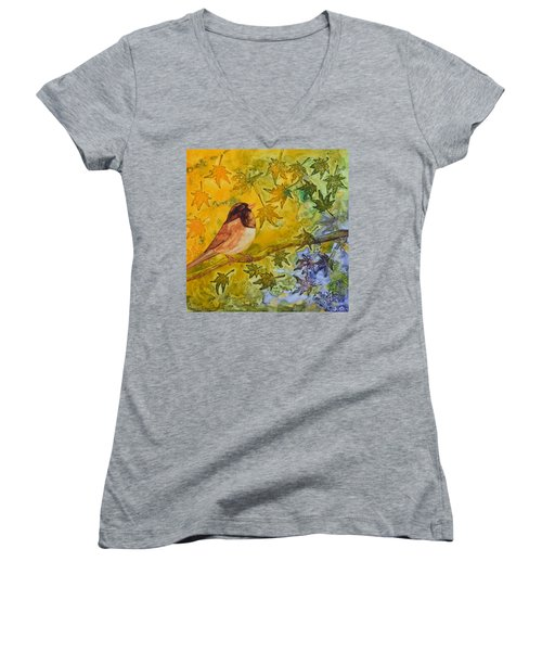 Women's V-Neck T-Shirt (Junior Cut) featuring the painting Autumn's Song by Nancy Jolley