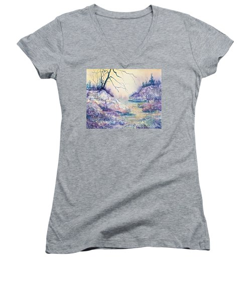 Autumnscape In Purple Women's V-Neck T-Shirt (Junior Cut) by Carolyn Rosenberger
