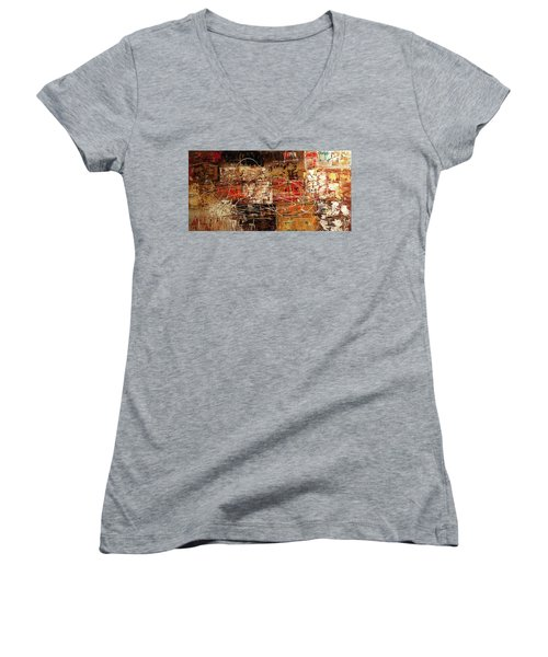 Women's V-Neck T-Shirt (Junior Cut) featuring the painting Avant Garde by Carmen Guedez