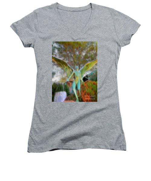 Women's V-Neck T-Shirt (Junior Cut) featuring the photograph Awaken by Gina Savage
