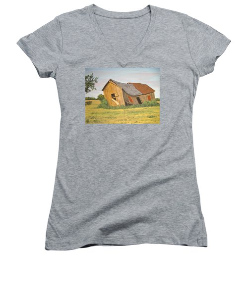 Women's V-Neck T-Shirt (Junior Cut) featuring the painting Award-winning Original Acrylic Painting - Now I Lay Me Down To Sleep by Norm Starks