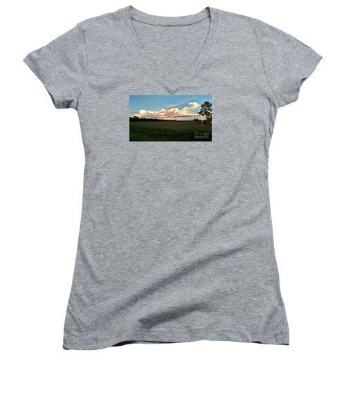 Awe Inspiring Women's V-Neck T-Shirt (Junior Cut) by Audrey Van Tassell
