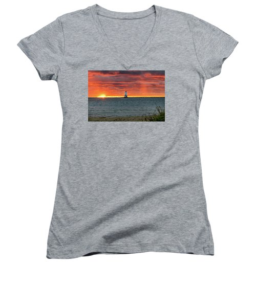 Awesome Sunset With Lighthouse  Women's V-Neck