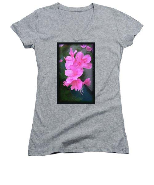 Azalea Spray Women's V-Neck T-Shirt (Junior Cut) by Ginny Schmidt
