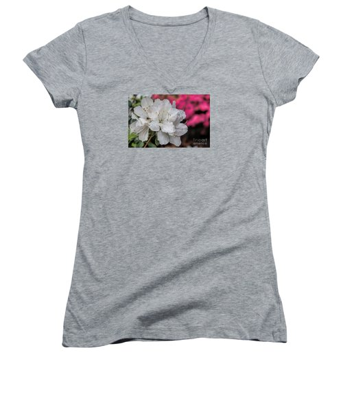 Women's V-Neck T-Shirt (Junior Cut) featuring the photograph Azaleas In Turtle Creek by Diana Mary Sharpton