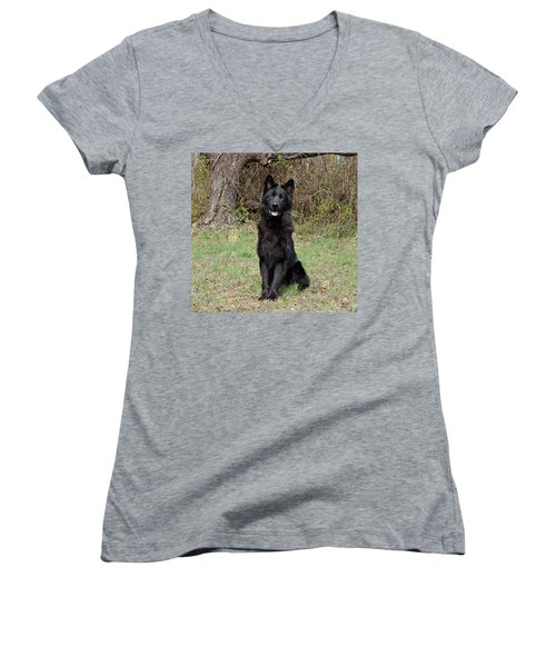 Women's V-Neck T-Shirt (Junior Cut) featuring the photograph Aziza Sitting by Sandy Keeton