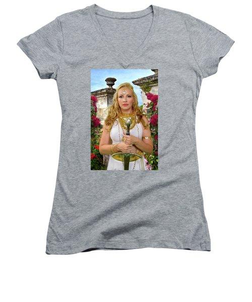 Azna Women's V-Neck T-Shirt (Junior Cut) by David Clanton