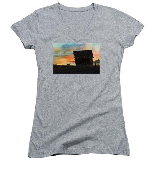 B. C. Barn # 1672 Women's V-Neck T-Shirt (Junior Cut) by Ed Hall