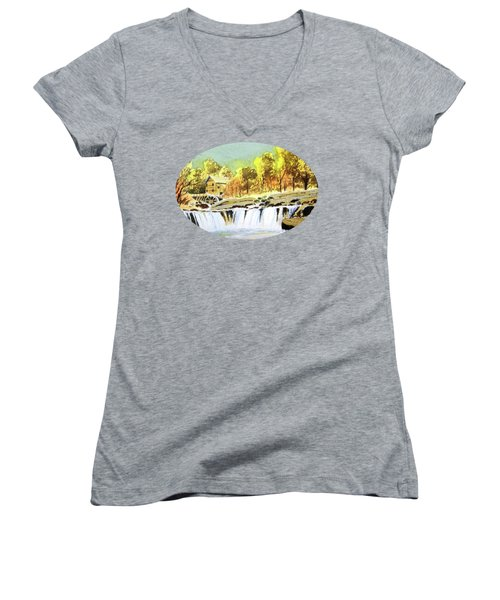 Babcock State Park West Virginia Women's V-Neck T-Shirt (Junior Cut) by Bill Holkham