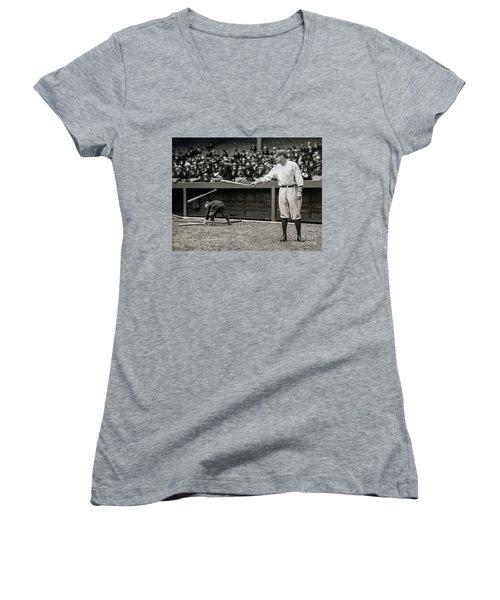 Babe Ruth At Bat Women's V-Neck T-Shirt (Junior Cut) by Jon Neidert