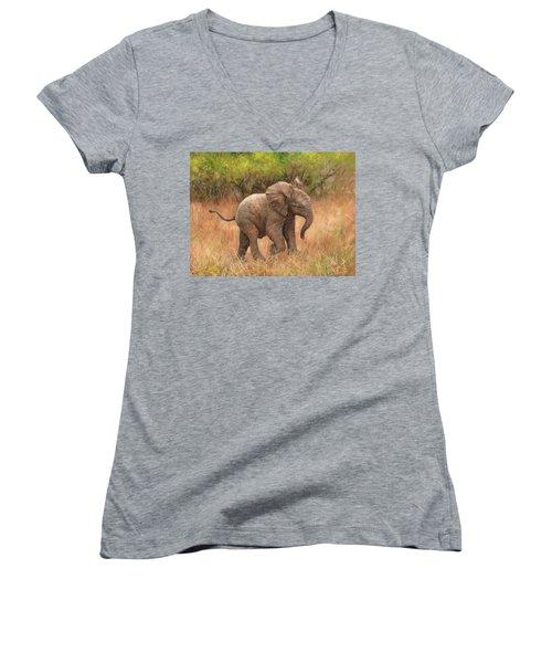 Baby African Elelphant Women's V-Neck