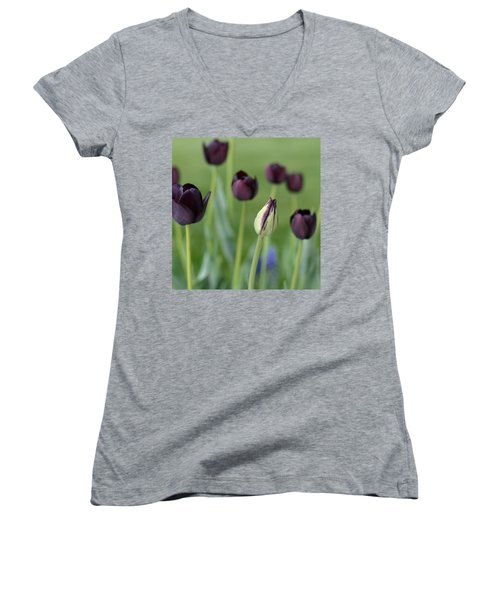 Women's V-Neck T-Shirt (Junior Cut) featuring the photograph Baby Bloomer by Linda Mishler
