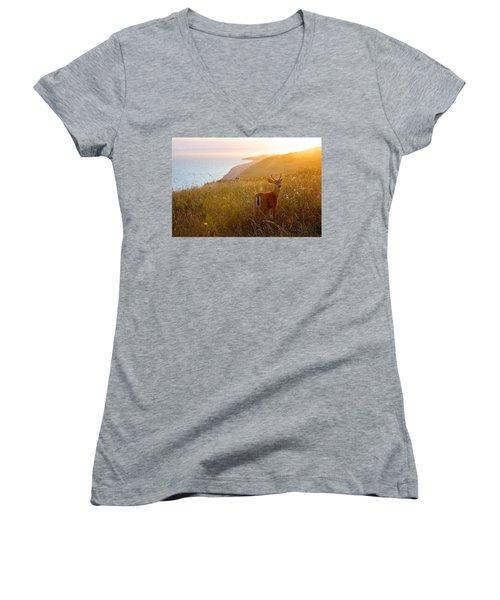 Baby Deer Women's V-Neck T-Shirt (Junior Cut) by Evgeny Vasenev