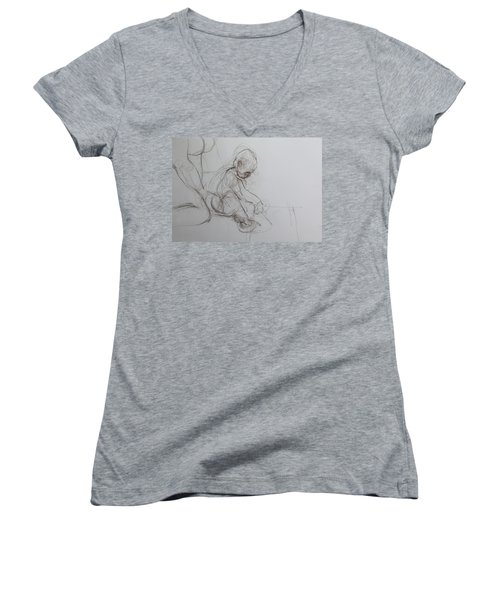 Baby, Drawing With Mother Women's V-Neck T-Shirt