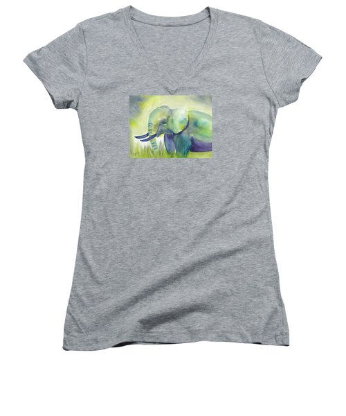 Baby Elephant Women's V-Neck T-Shirt (Junior Cut) by Frank Bright