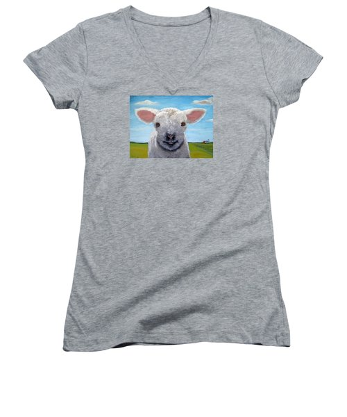 Baby Farm Lamb Sheep  Women's V-Neck