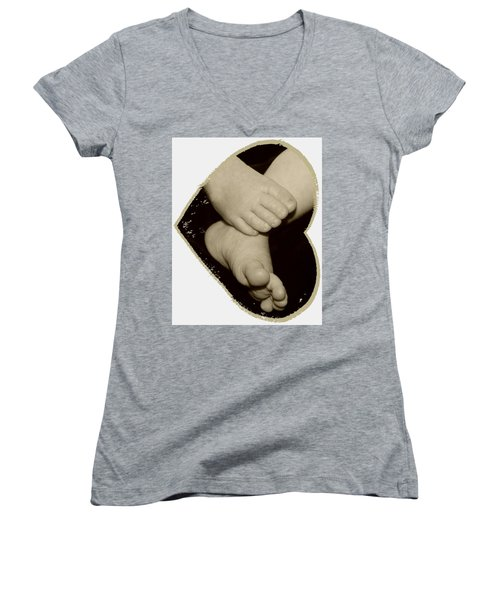 Baby Feet Women's V-Neck T-Shirt (Junior Cut) by Ellen O'Reilly