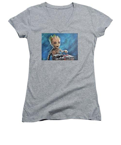 Baby Groot Women's V-Neck T-Shirt (Junior Cut) by Tom Carlton