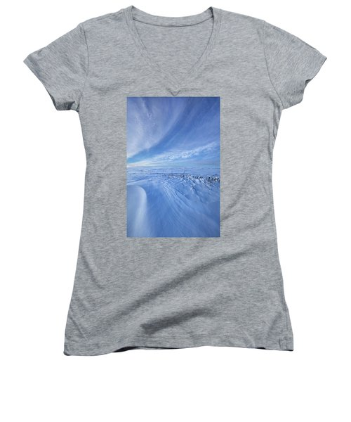 Women's V-Neck T-Shirt (Junior Cut) featuring the photograph Baby It's Cold Outside by Phil Koch
