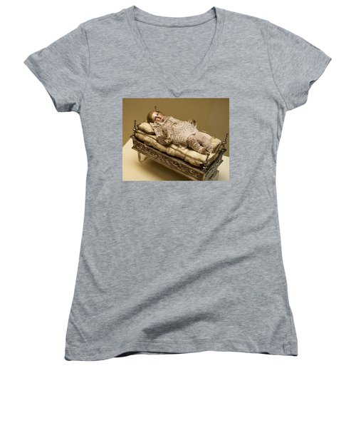Women's V-Neck T-Shirt (Junior Cut) featuring the photograph Baby Jesus In Lace by Lorraine Devon Wilke