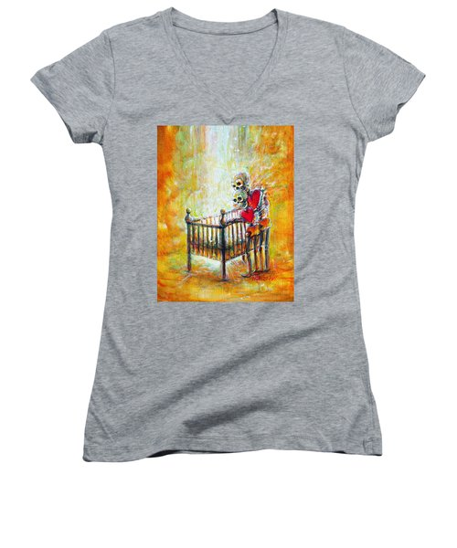 Women's V-Neck T-Shirt (Junior Cut) featuring the painting Baby Love by Heather Calderon