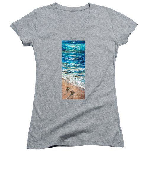 Baby Sea Turtles I Women's V-Neck T-Shirt