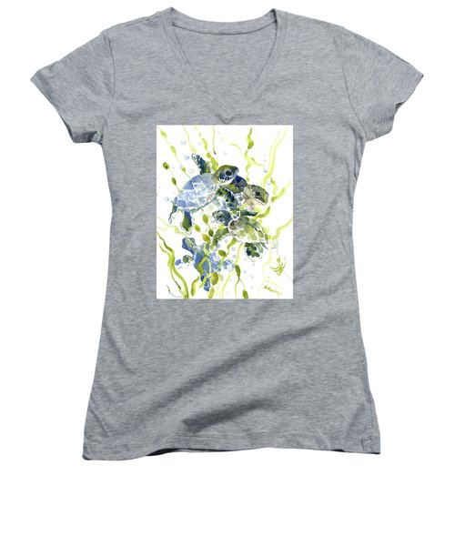 Baby Sea Turtles In The Sea Women's V-Neck (Athletic Fit)