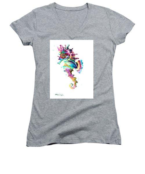 Baby Seahorse Women's V-Neck T-Shirt (Junior Cut) by Suren Nersisyan