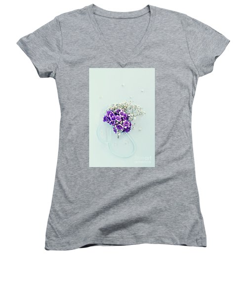Women's V-Neck T-Shirt (Junior Cut) featuring the photograph Baby's Breath And Violets Bouquet by Stephanie Frey
