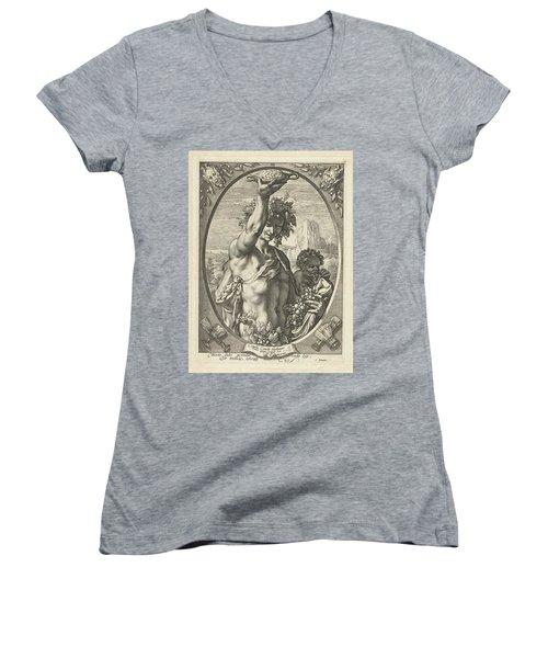 Bacchus God Of Ectasy Women's V-Neck T-Shirt (Junior Cut) by R Muirhead Art