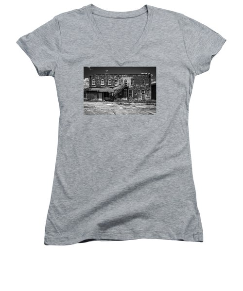 Women's V-Neck T-Shirt (Junior Cut) featuring the photograph Back Lot - Bw by Christopher Holmes