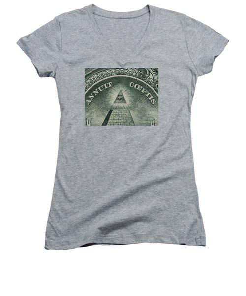 Back Of 1 Dollar Bill Women's V-Neck