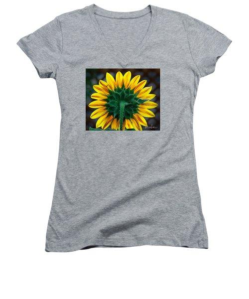 Back Of Sunflower Women's V-Neck (Athletic Fit)