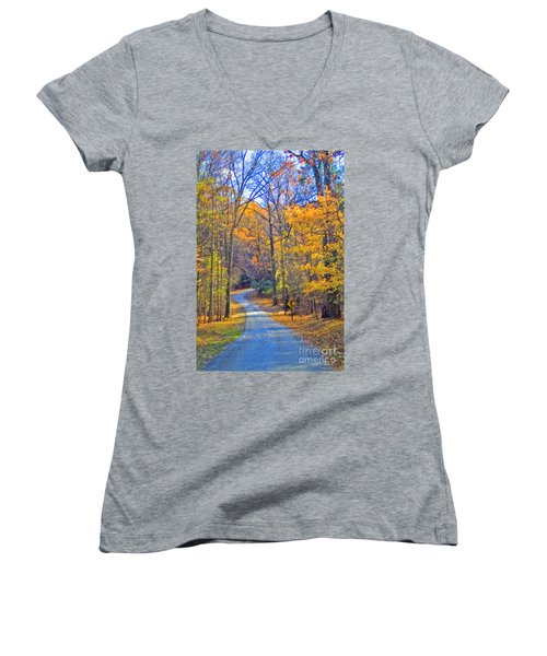 Women's V-Neck T-Shirt (Junior Cut) featuring the photograph Back Road Fall Foliage by David Zanzinger
