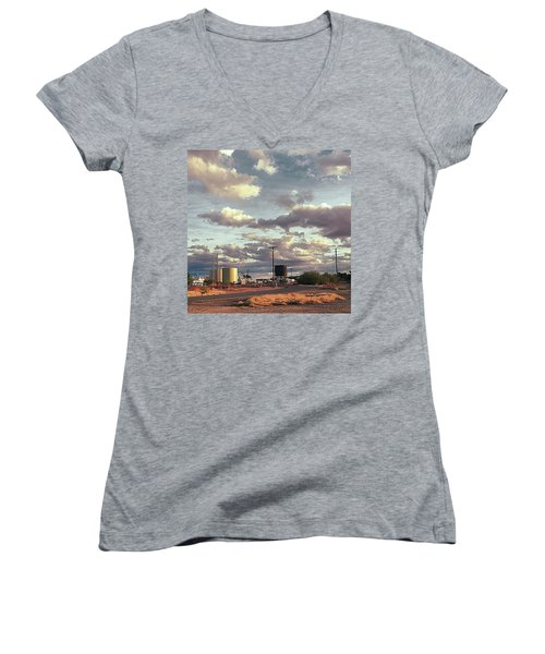 Back Side Of Water Tower, Arizona. Women's V-Neck T-Shirt