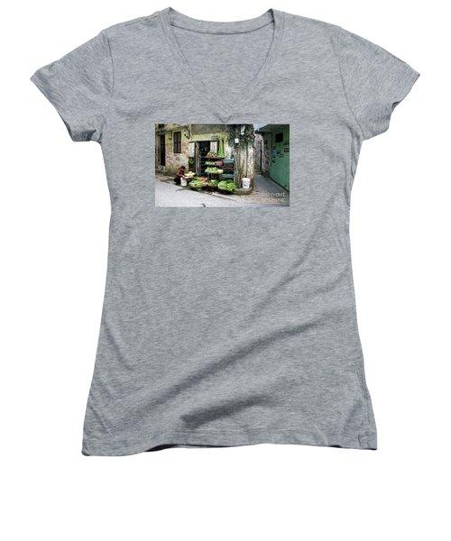 Back Street Veggies Store I Women's V-Neck T-Shirt (Junior Cut) by Chuck Kuhn