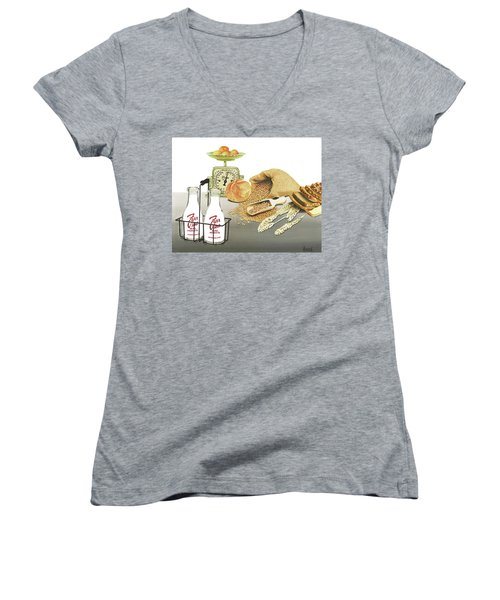 Women's V-Neck T-Shirt (Junior Cut) featuring the painting Back To Basics by Ferrel Cordle