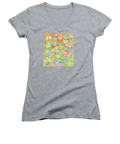 Back To The Garden Leaves, Hearts, Flowers, With Words Women's V-Neck