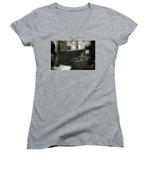 Women's V-Neck T-Shirt (Junior Cut) featuring the photograph Back When by Lori Mellen-Pagliaro